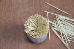 toothpicks in container